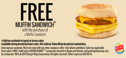 Burger King Coupon: Buy 1 Get 1 FREE Muffin Sandwich Coupon