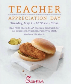 FREE Chicken Sandwich at Chick-fil-A for Teachers & Educators on May 7th