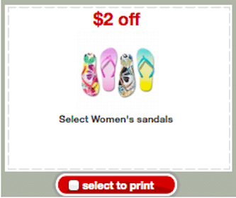 Target Coupon: Save $2 off Women's Sandals