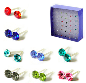 Set of Crystal Stud Earrings