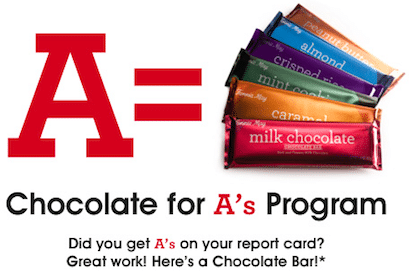 Chocolate at Fannie May for Good Grades