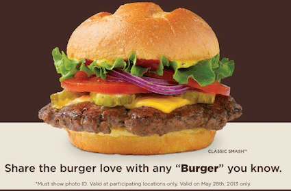 Burger at Smashburger on 5/28 (Those Named Burger/Berger)