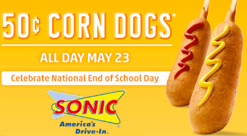Sonic Deal: 50¢ Corn Dogs on May 23rd