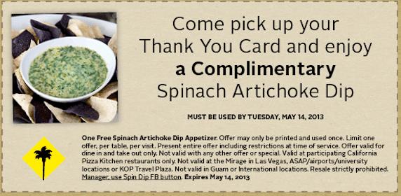Spinach Artichoke Dip at California Pizza Kitchen