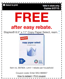 Staples Copy Paper (After Easy Rebate)