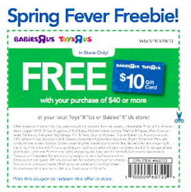 Toys R Us Coupon: FREE $10 Gift Card with $40 Purchase