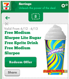 Medium Slurpee Lite Sugar-Free Sprite at 7-Eleven (Mobile App Coupon)