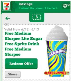 Medium Slurpee Lite Sugar-Free Sprite at 7-Eleven (Mobile App Coupon)