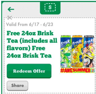 24 oz. Brisk Tea at 7-Eleven (Mobile App Coupon)