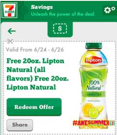 20 oz. Lipton Tea at 7-Eleven Through June 26th (Mobile App Users)