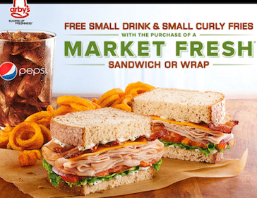 Arby's Coupon: FREE Sm Drink & Sm Curly Fries w/Market Fresh Sandwich or Wrap Purchase
