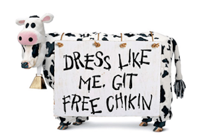 Chick-fil-A Cow Appreciation Day: Dress Like a Cow = FREE Meal (July 12th)