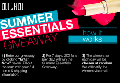 Enter to Win FREE Beauty Products from Milani (1,400 Winners!)