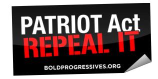 'Patriot Act: Repeal It' Bumper Sticker