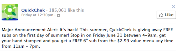 Sub at Quick Chek on June 21