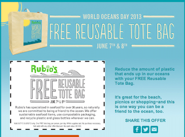 Tote Bag at Rubios June 7-8