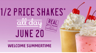 Sonic Drive-In: 1/2 Price Shakes on June 20th