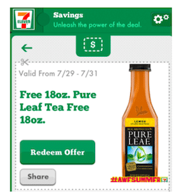 7-Eleven Mobile App Coupon: Free Pure Leaf Tea (7/29-7/31)