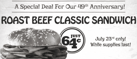 Arby's Coupon: Roast Beef Classic Sandwich Only 64¢ on July 23rd