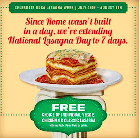 Buca di Beppo Coupon: FREE Individual Lasagna with Pasta or Entree Purchase