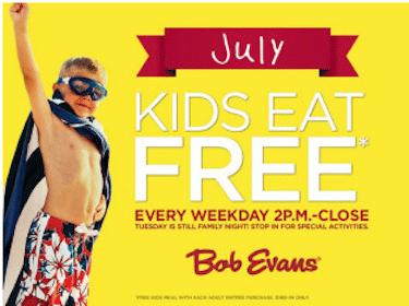 Kids Eat Free in July at Bob Evans (Weekdays Only 2 PM-Close)