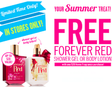 Bath & Body Works Coupon: FREE Forever Red Shower Gel/Body Lotion with Purchase