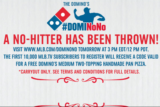 Medium Dominos Pizza for MLB.tv Subscribers on Monday
