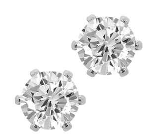 Sterling Silver Plated CZ Stud Earrings