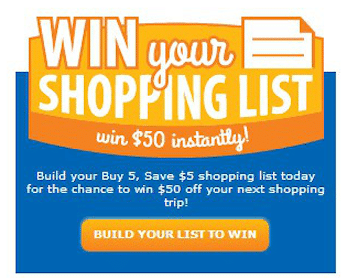 Kroger & Affiliates Shopping List Instant Win Game: Win $50 Off Your Next Shopping Trip (500 Winners!)