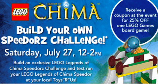 Build Your Own LEGO Chima Speedorz Challenge at ToysRUs Today 7/27