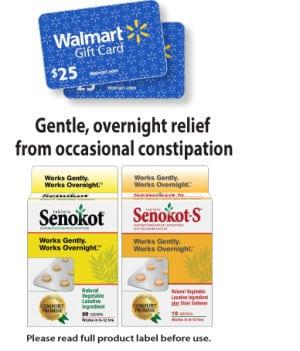 Senokot Sweepstakes $25 Walmart Gift Card