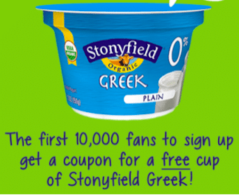 Cup of Stonyfield Greek Yogurt Coupon (1st 10,000)