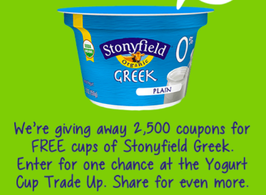 Win a FREE Cup of Stonyfield Greek Yogurt Coupon (2500 Winners!)
