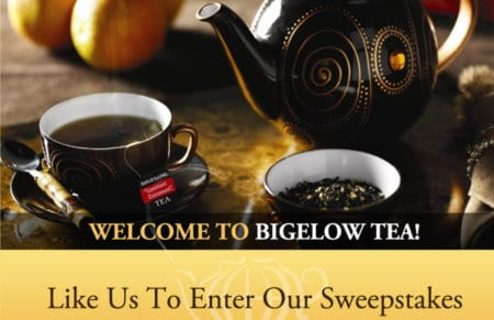 Bigelow Tea Sweepstakes on FACEBOOK