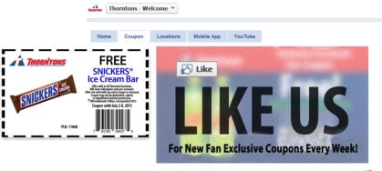 Thorton's Coupons [FACEBOOK] Free Snicker's Ice Cream Bar