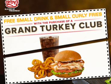 Arby's Coupon: FREE Sm. Drink & Sm. Curly Fries w/ Turkey Club Purchase
