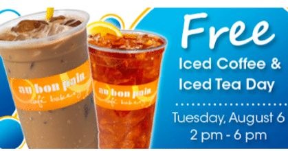 Iced Coffee or Iced Tea at Au Bon Pain from 2PM-6PM on August 6th