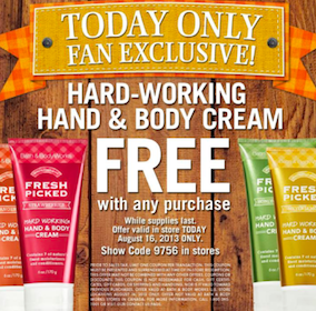 Bath & Body Works Coupon: FREE Hard-Working Hand & Body Cream with ANY Purchase – Today Only