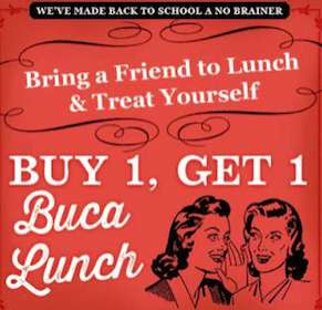 Buca di Beppo Coupon: Buy One Individual Lunch Item Get One Free
