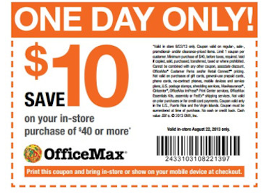 Office Max Coupon: Save $10 off $40 In-Store Purchase (Valid Today Only!)