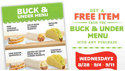 Del Taco: Get a Free Item from the Buck & Under Menu with ANY Purchase (On Wednesdays)