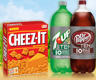 Box of Cheez-It and Dr. Pepper Ten or 7-Up Ten at Safeway