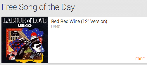 """MP3 Download: """"Red Red Wine""""  by UB40 ($1.29 Value!) – Today Only"""