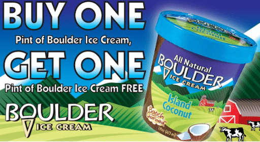 Boulder All NaturaI Ice Cream Coupon: Buy 1 Get 1 Free Pint
