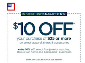 JCPenney Coupon: Save $10 Off $25 On Select Apparel, Shoes & Accessories