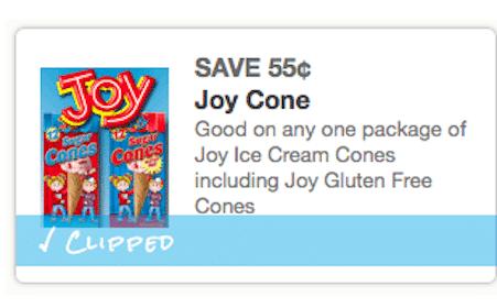 Save $0.55/1 Joy Ice Cream Cones Coupon