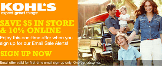 Kohls Coupon: Save $5 off any $5 Purchase
