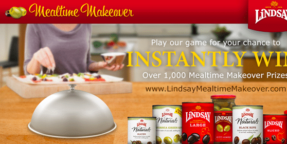 Lindsay Olives Mealtime Makeover Instant Win & Sweeps ($10,000 in Cash & Prizes!)