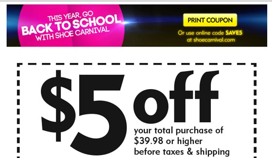 Free BOGO Coupon for Shoe Carnival's Back To School Sale