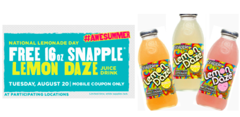 7-Eleven Mobile Coupon: FREE Snapple Lemon Daze (Valid August 20th)